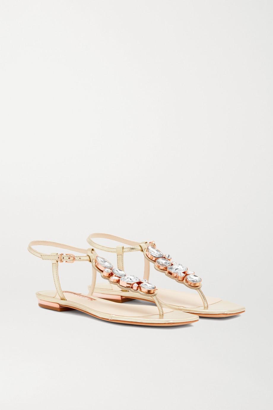 Sophia Webster Ritzy crystal-embellished metallic leather sandals