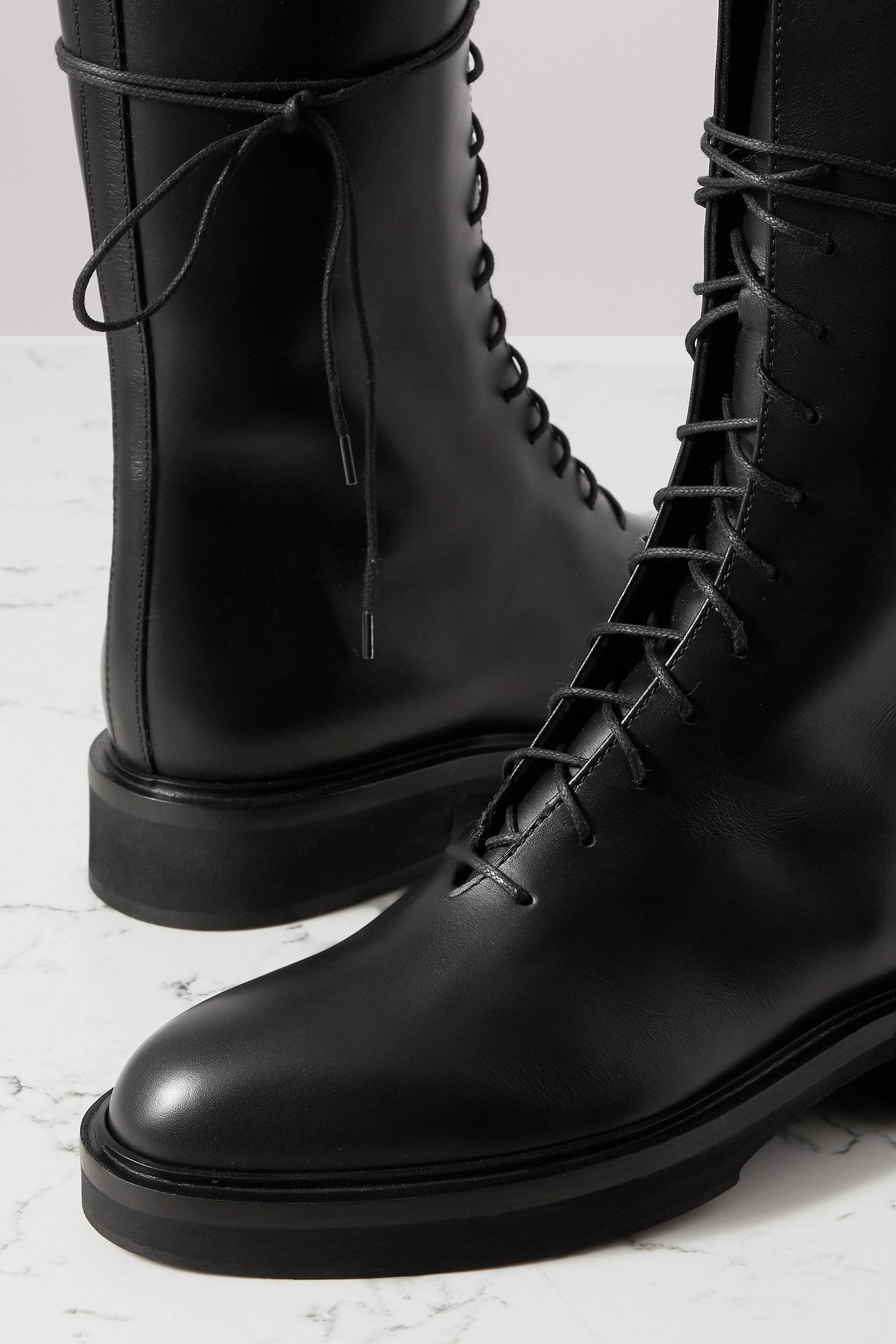 Khaite Conley lace-up leather ankle boots