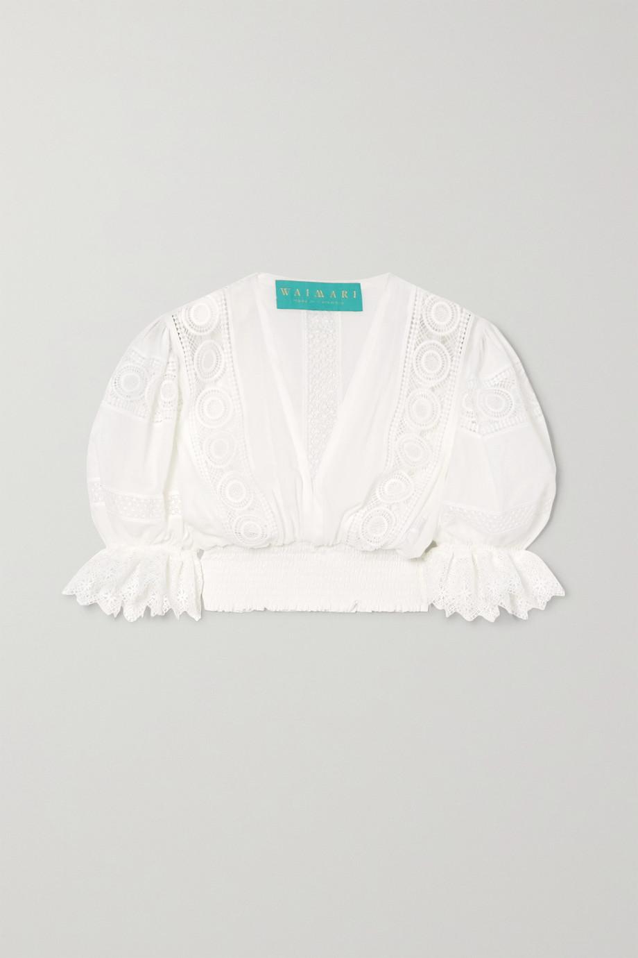 WAIMARI Venus 皱褶装饰凸花蕾丝边饰巴里纱短款上衣