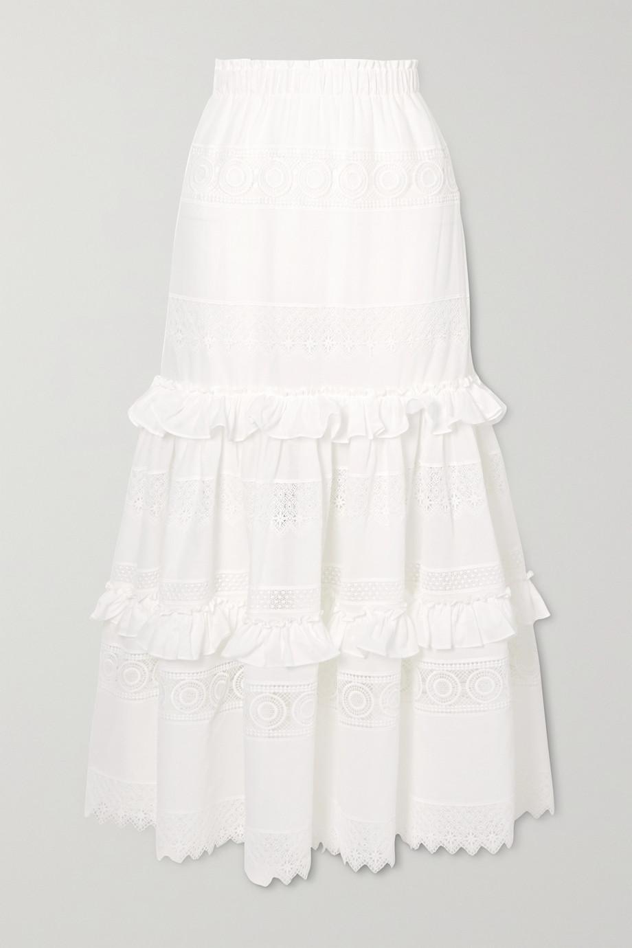 WAIMARI Venus 荷叶边凸纹蕾丝边饰巴里纱超长半身裙