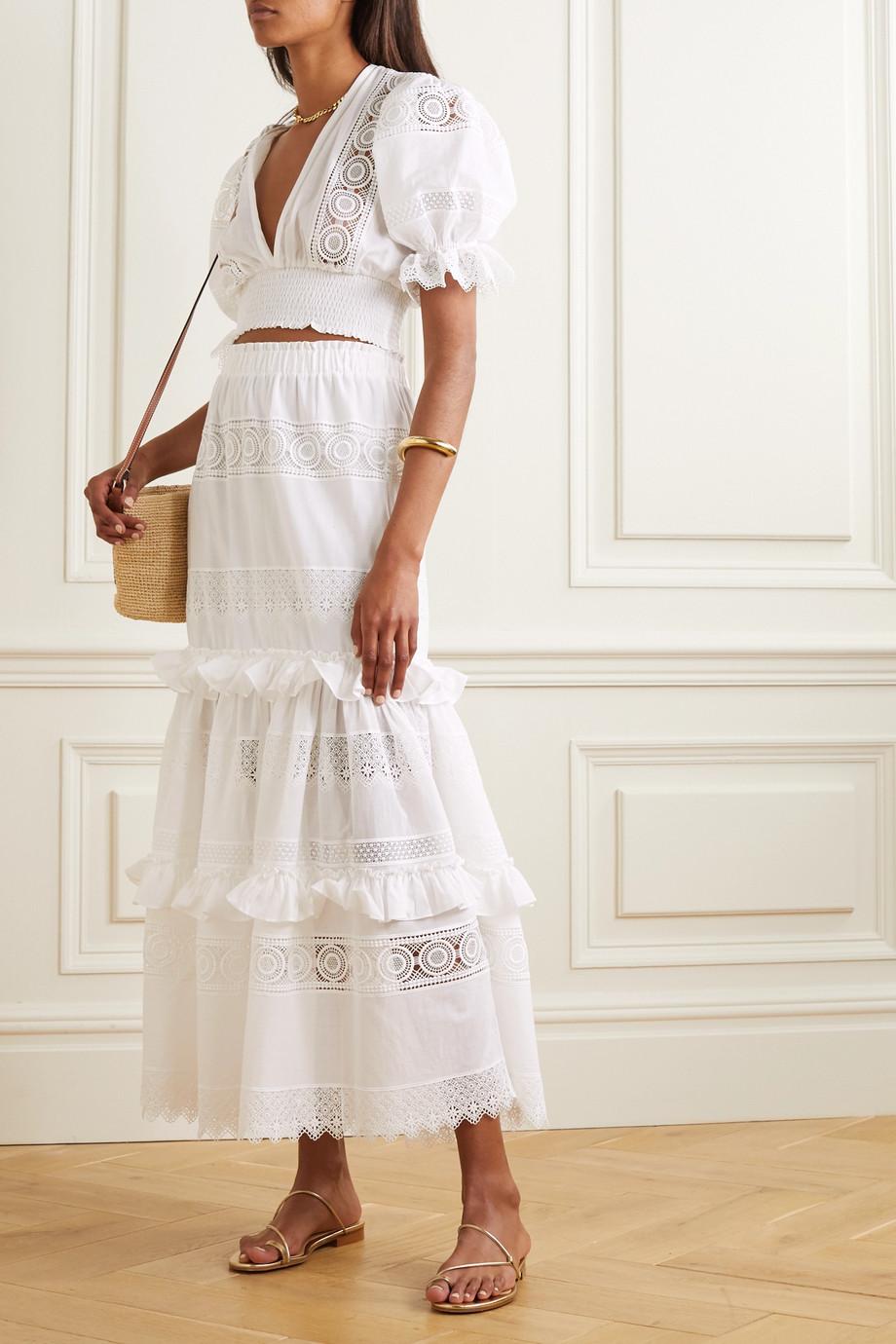 WAIMARI Venus ruffled guipure lace-trimmed voile maxi skirt