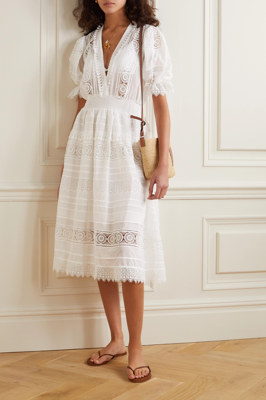 WAIMARI Lumiere shirred guipure lace-trimmed voile midi dress