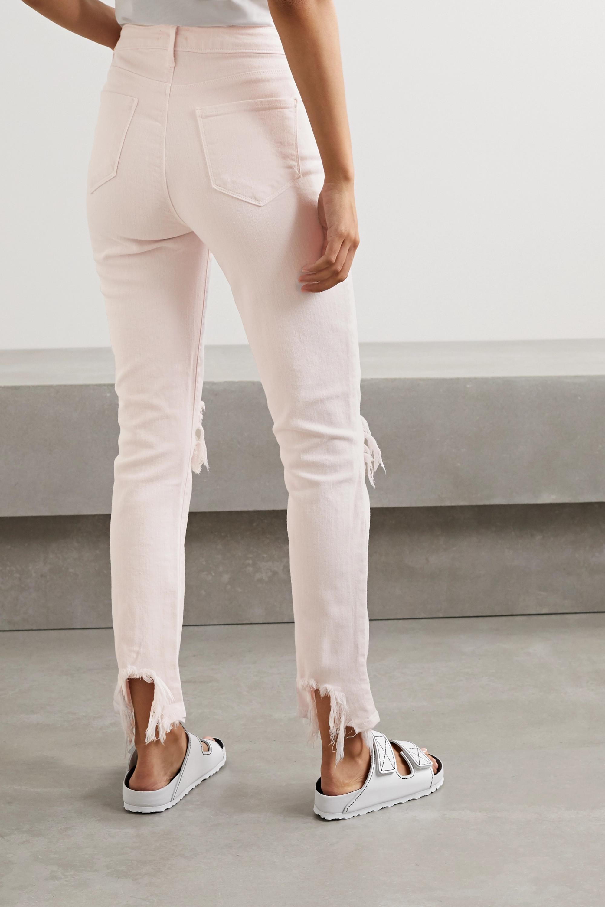 L'Agence High Line verkürzte, hoch sitzende Skinny Jeans in Distressed-Optik