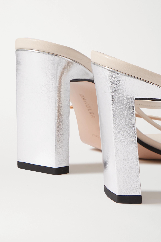 Wandler Yara zweifarbige Mules aus Leder in Metallic-Optik