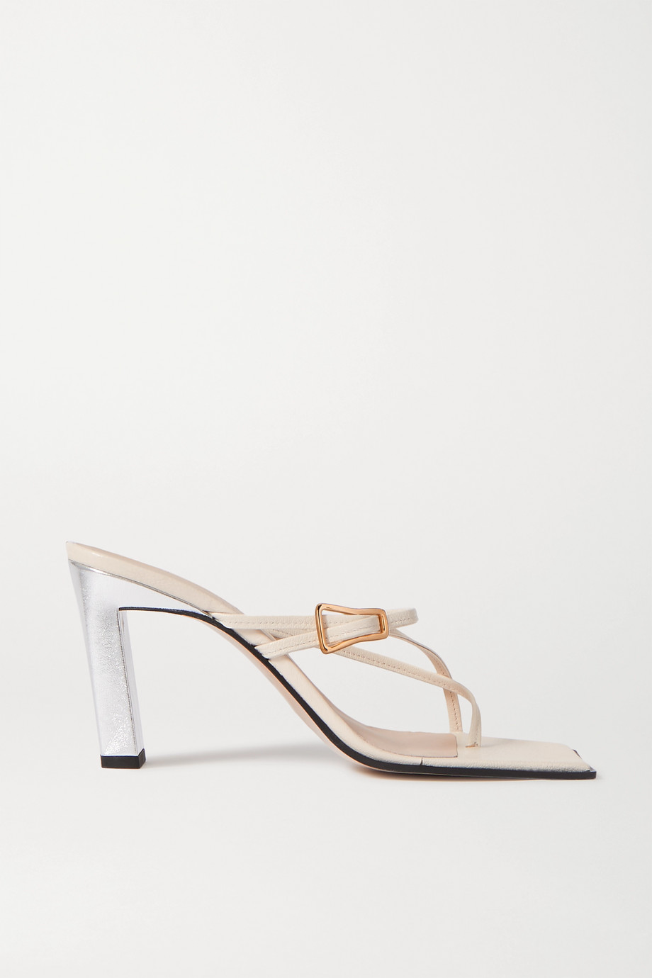 Wandler Yara metallic two-tone leather mules