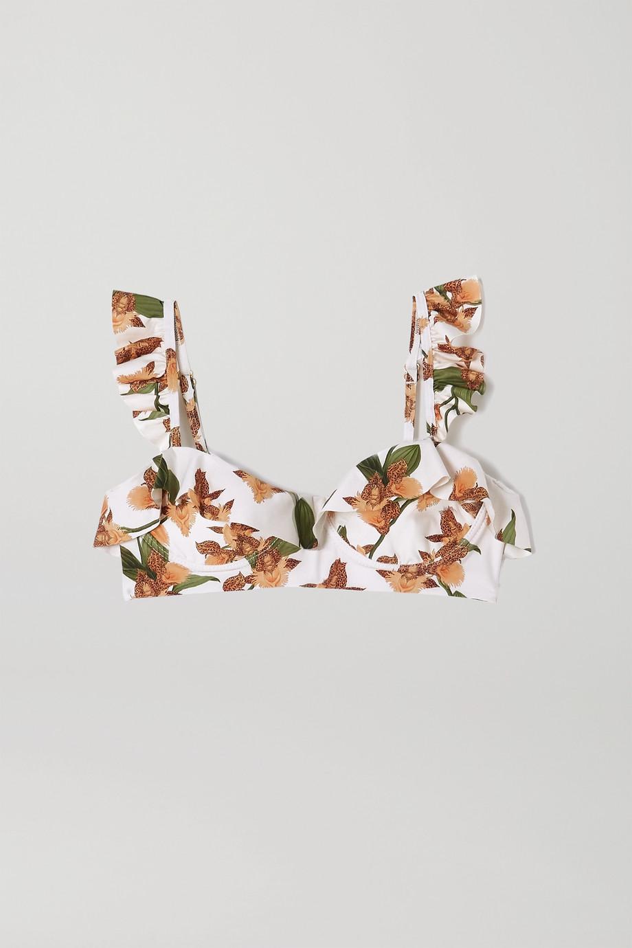 Agua by Agua Bendita Margot Bikini-Oberteil mit Bügeln, Blumenprint und Rüschen