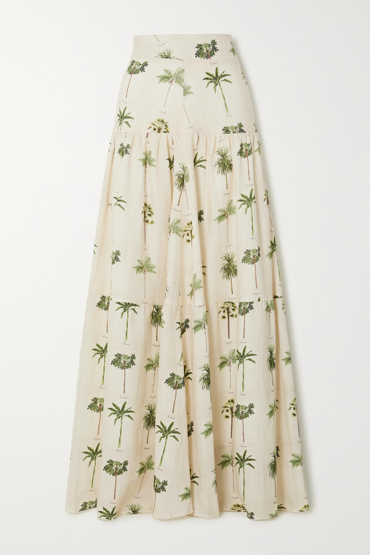 Agua by Agua Bendita Anis tiered printed linen maxi skirt