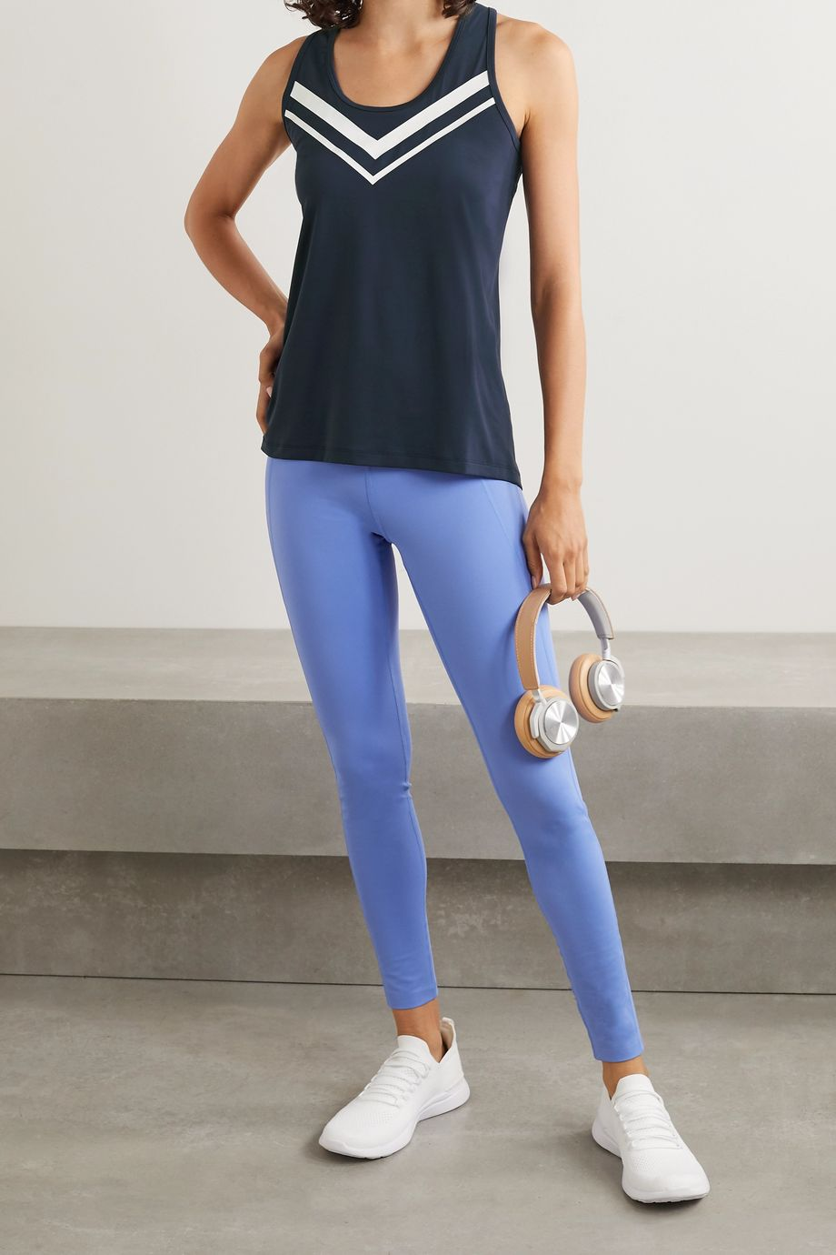 Tory Sport Performance printed stretch-jersey tank