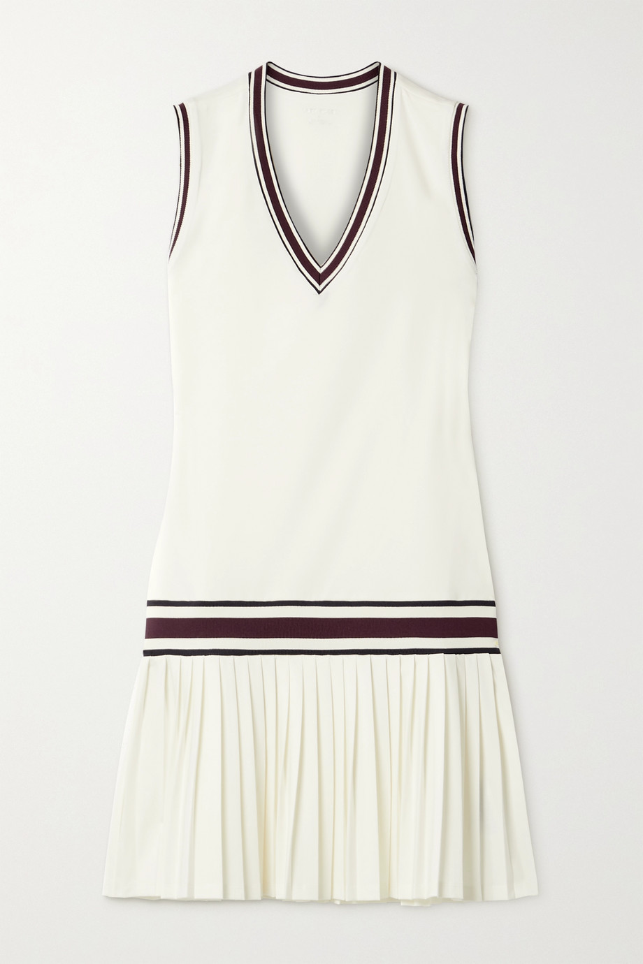 Tory Sport Striped pleated stretch-jersey tennis dress