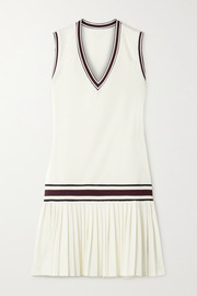 Tory Sport Striped pleated stretch-jersey tennis dress