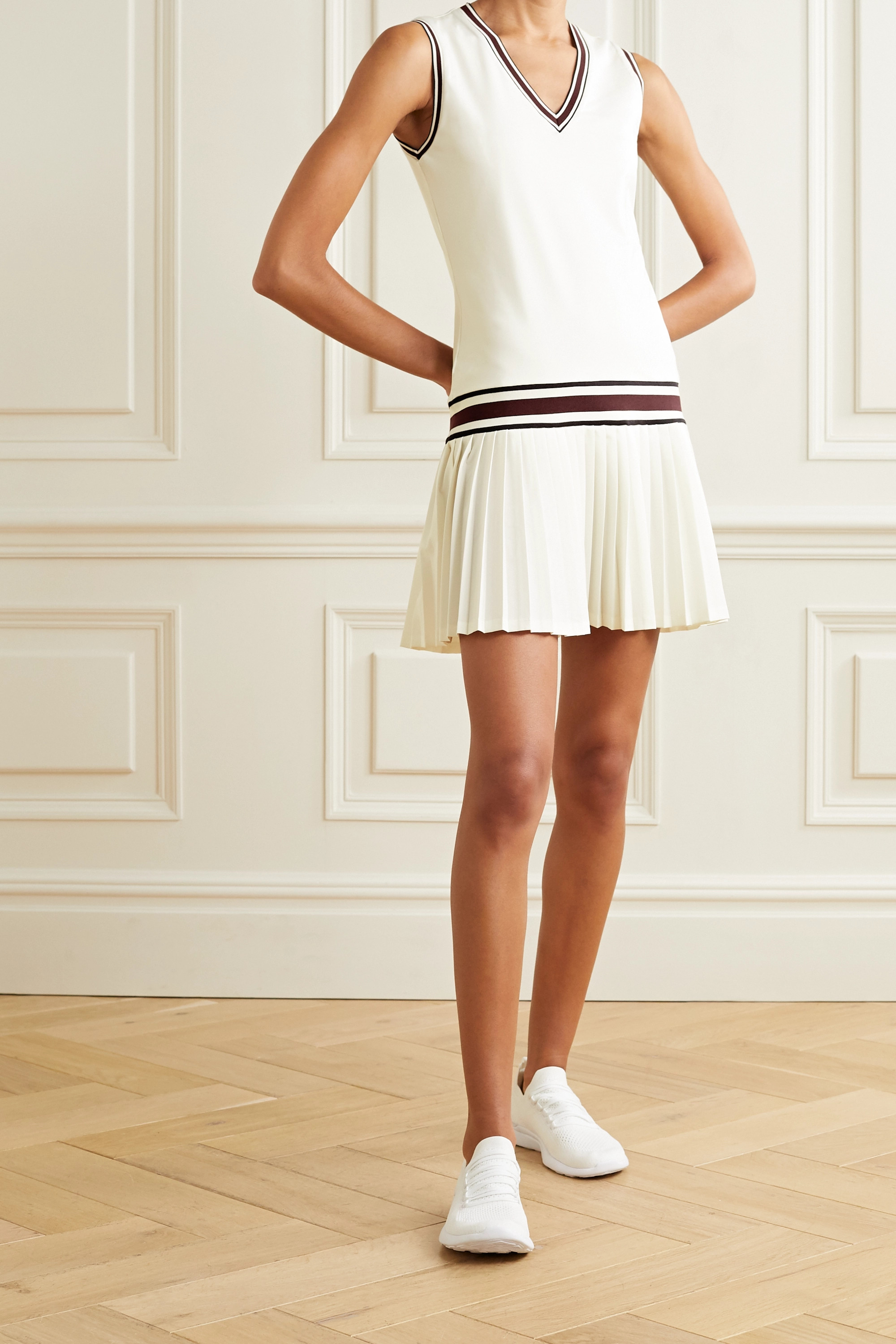 White Striped Pleated Stretch Jersey Tennis Dress Tory Sport Net A Porter