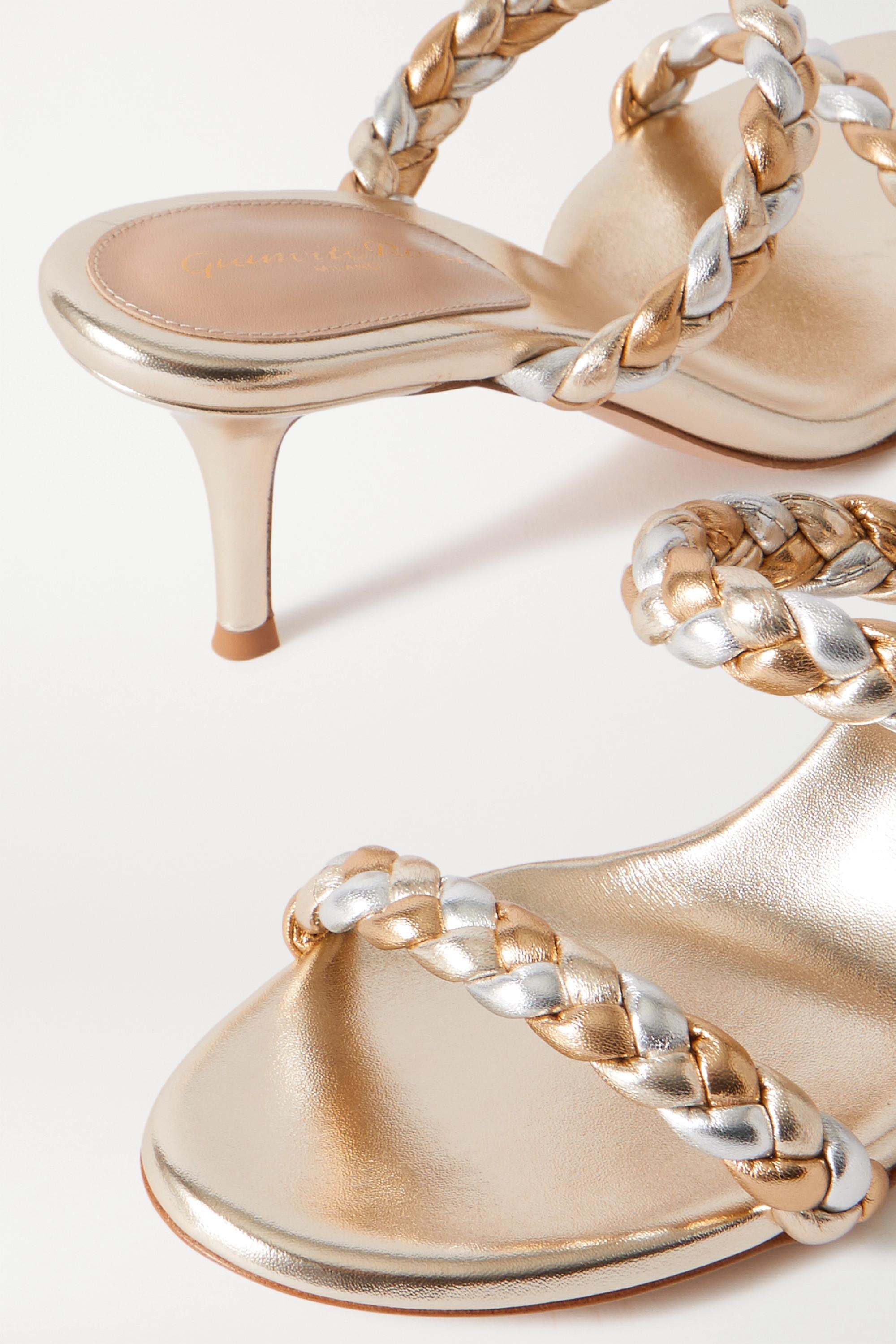Gianvito Rossi 70 braided metallic leather sandals