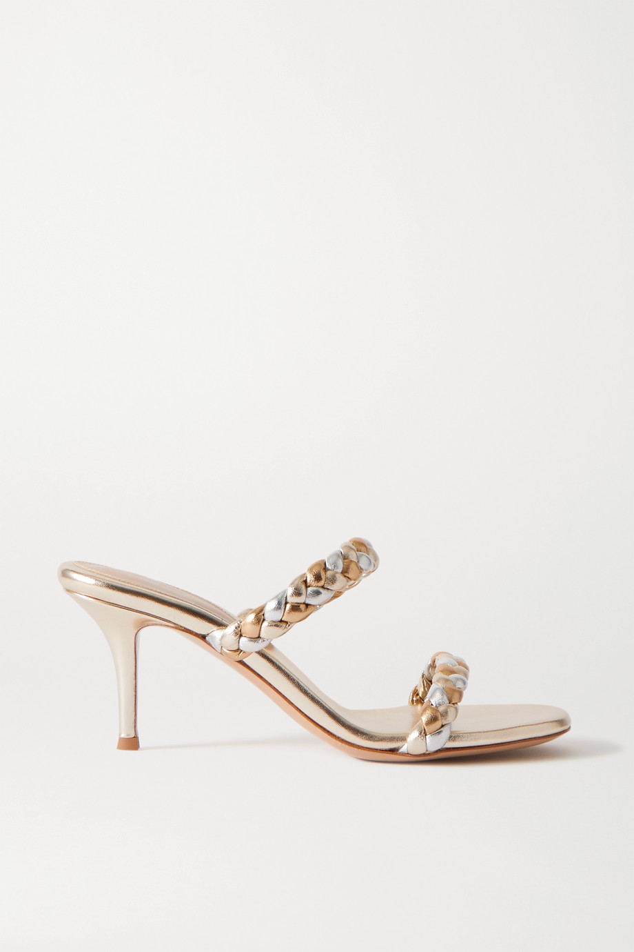 Gianvito Rossi 70 braided metallic leather sandals