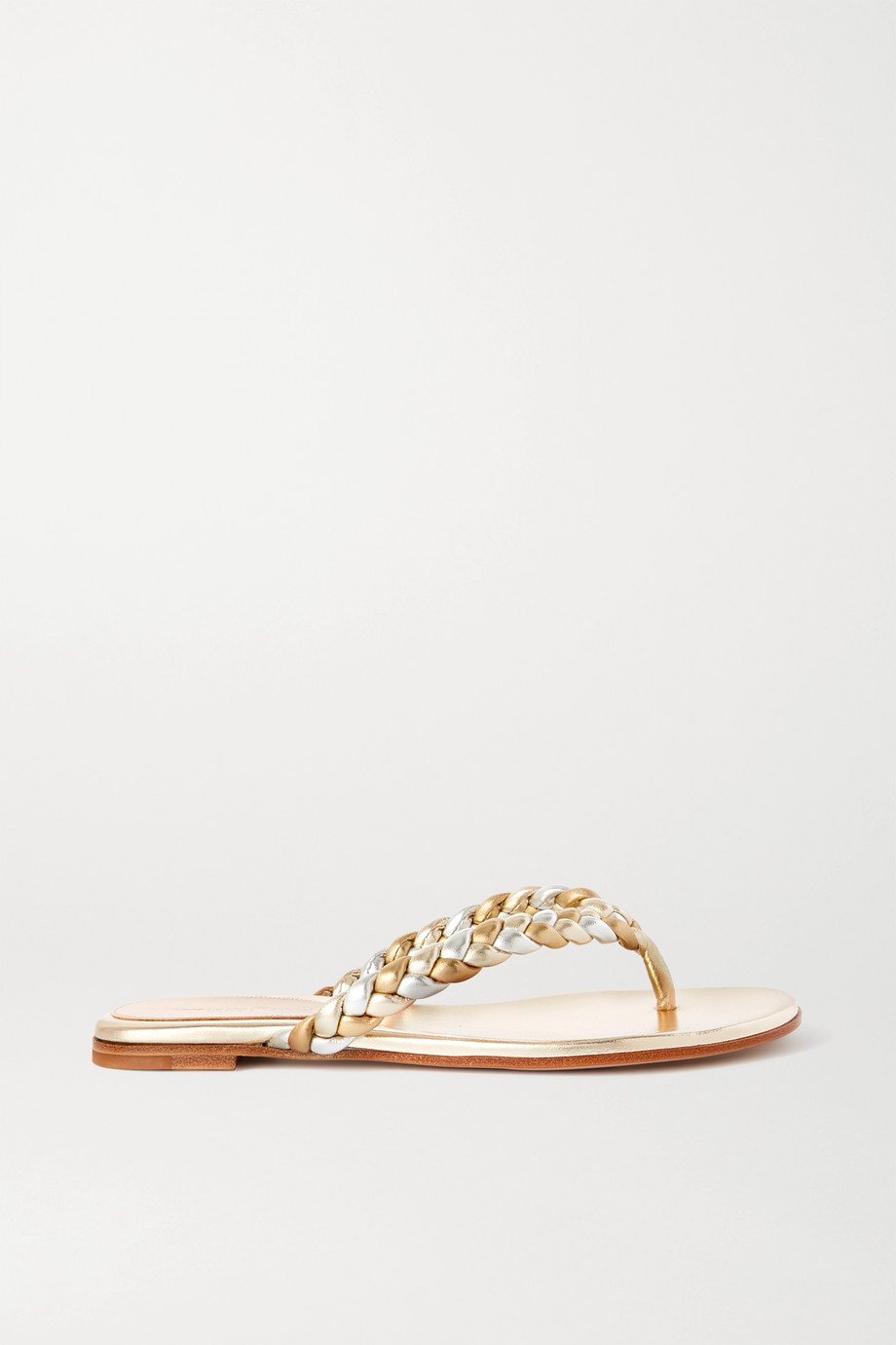 Gianvito Rossi Metallic braided leather flip flops