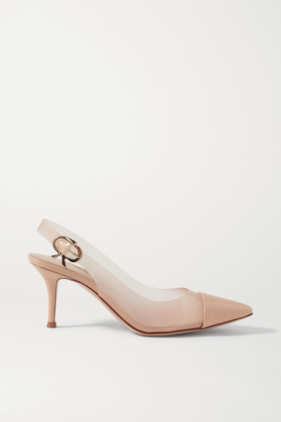 Gianvito Rossi 70 patent-leather and PVC slingback pumps