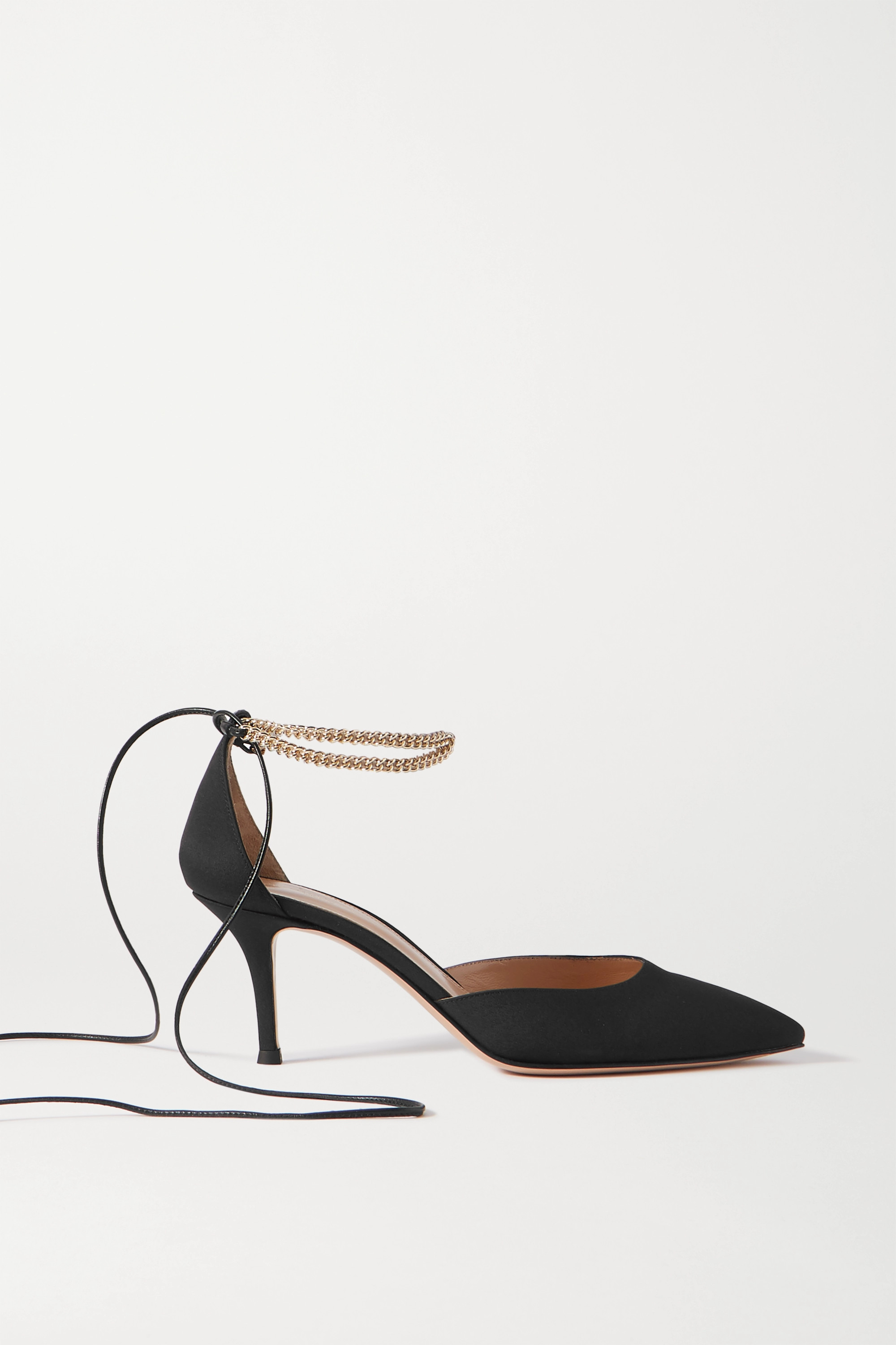 Gianvito Rossi 70 chain and leather-trimmed satin pumps