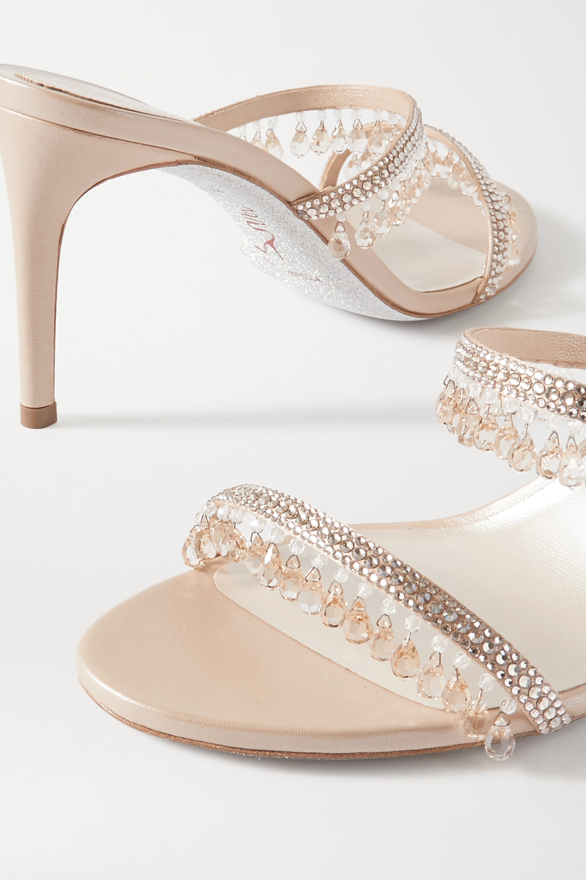 René Caovilla Crystal-embellished satin and metallic leather sandals