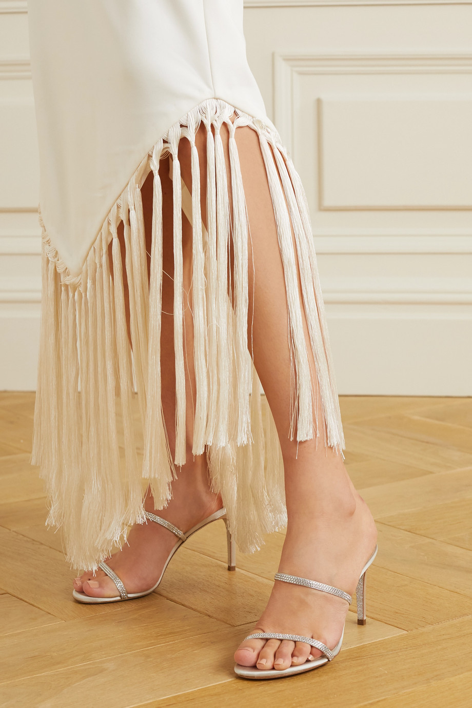 René Caovilla Bessie crystal-embellished satin mules