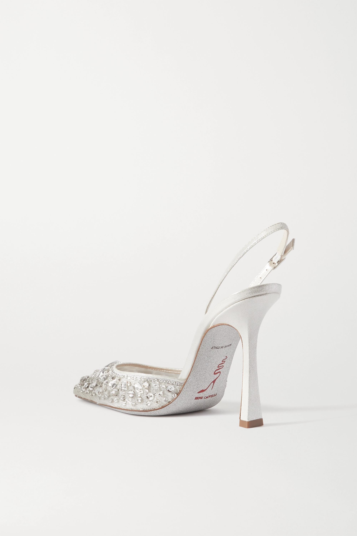 René Caovilla Metallic satin and crystal-embellished lace slingback pumps