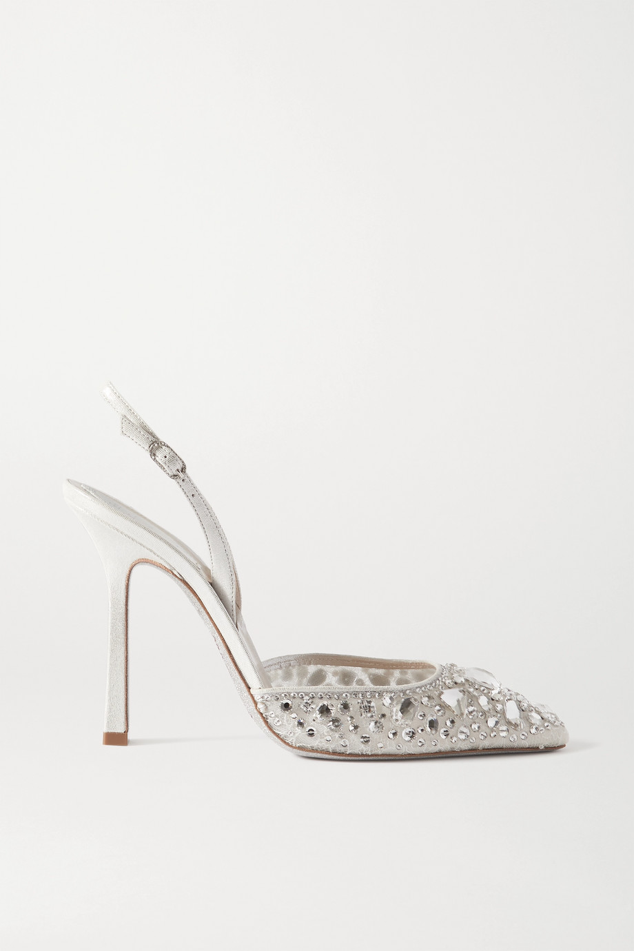 René Caovilla Metallic satin and crystal-embellished lace slingback pumps