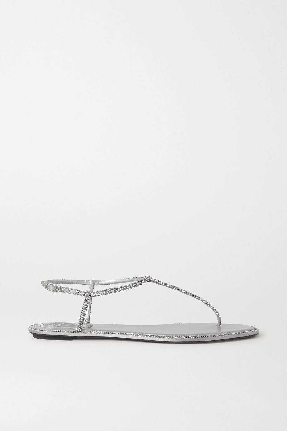 René Caovilla Diana crystal-embellished metallic leather sandals