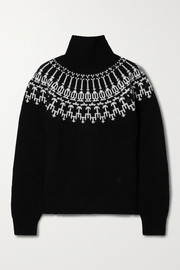 Tory Sport Wool-jacquard turtleneck sweater