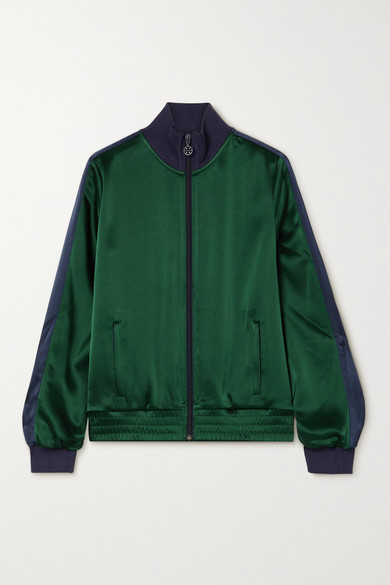 Tory Sport Striped Satin Track Jacket In Dark Green