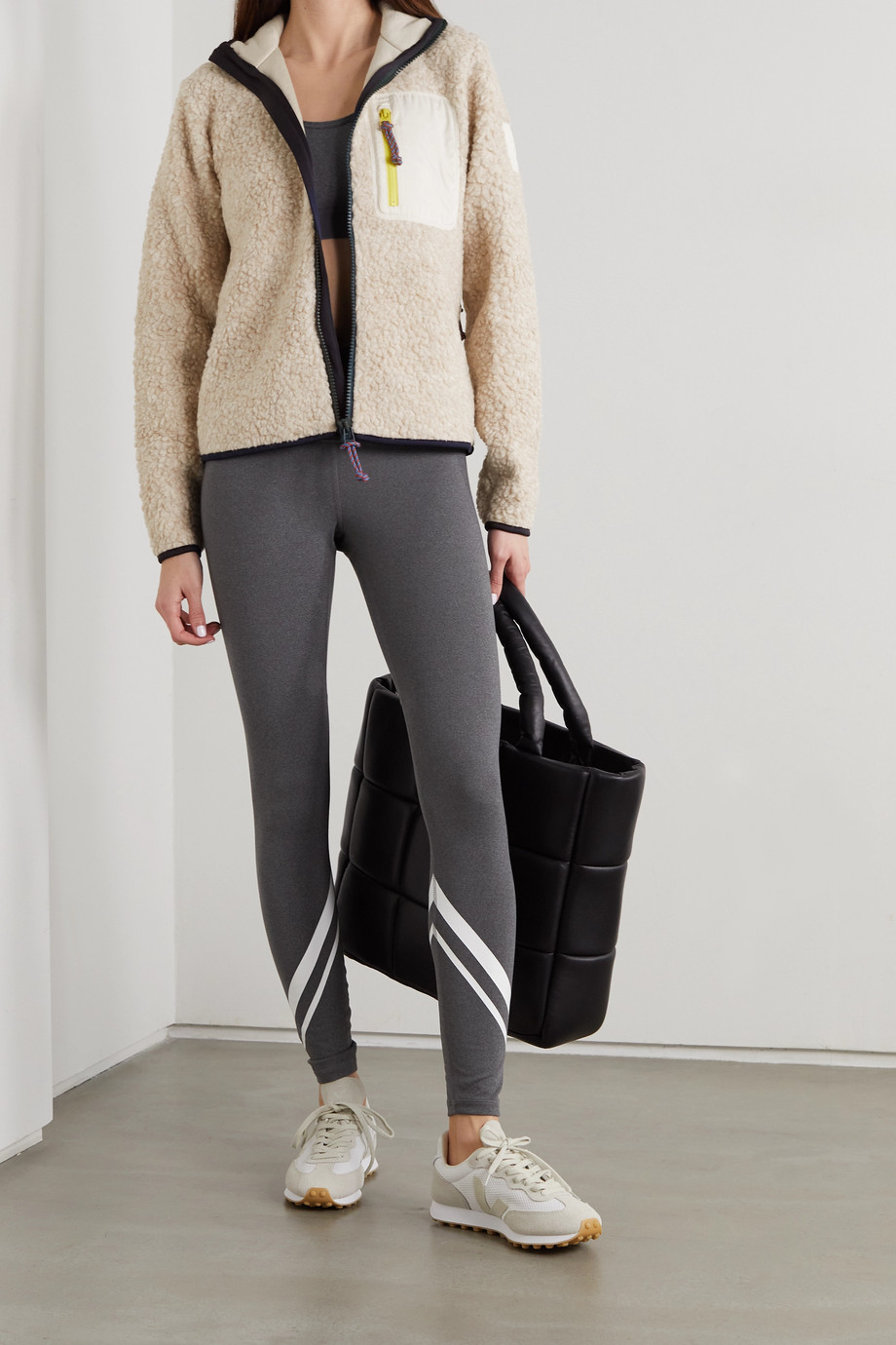 Tory Sport Shell-trimmed faux shearling jacket