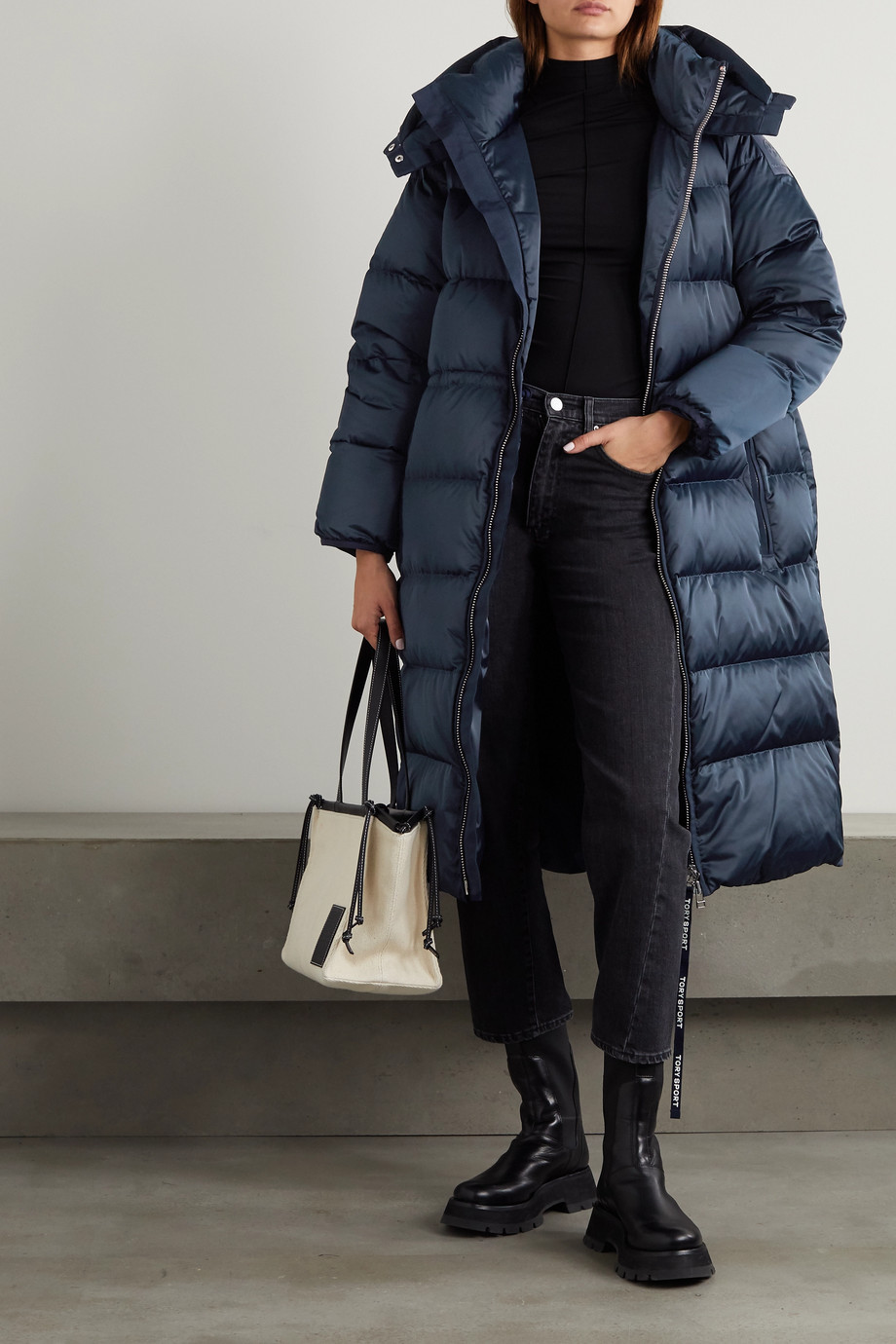 Tory Sport Hooded quilted shell down coat