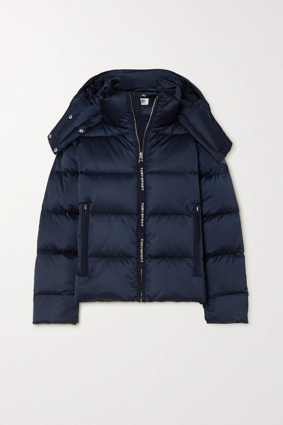 Tory Sport Oversized hooded quilted shell down jacket
