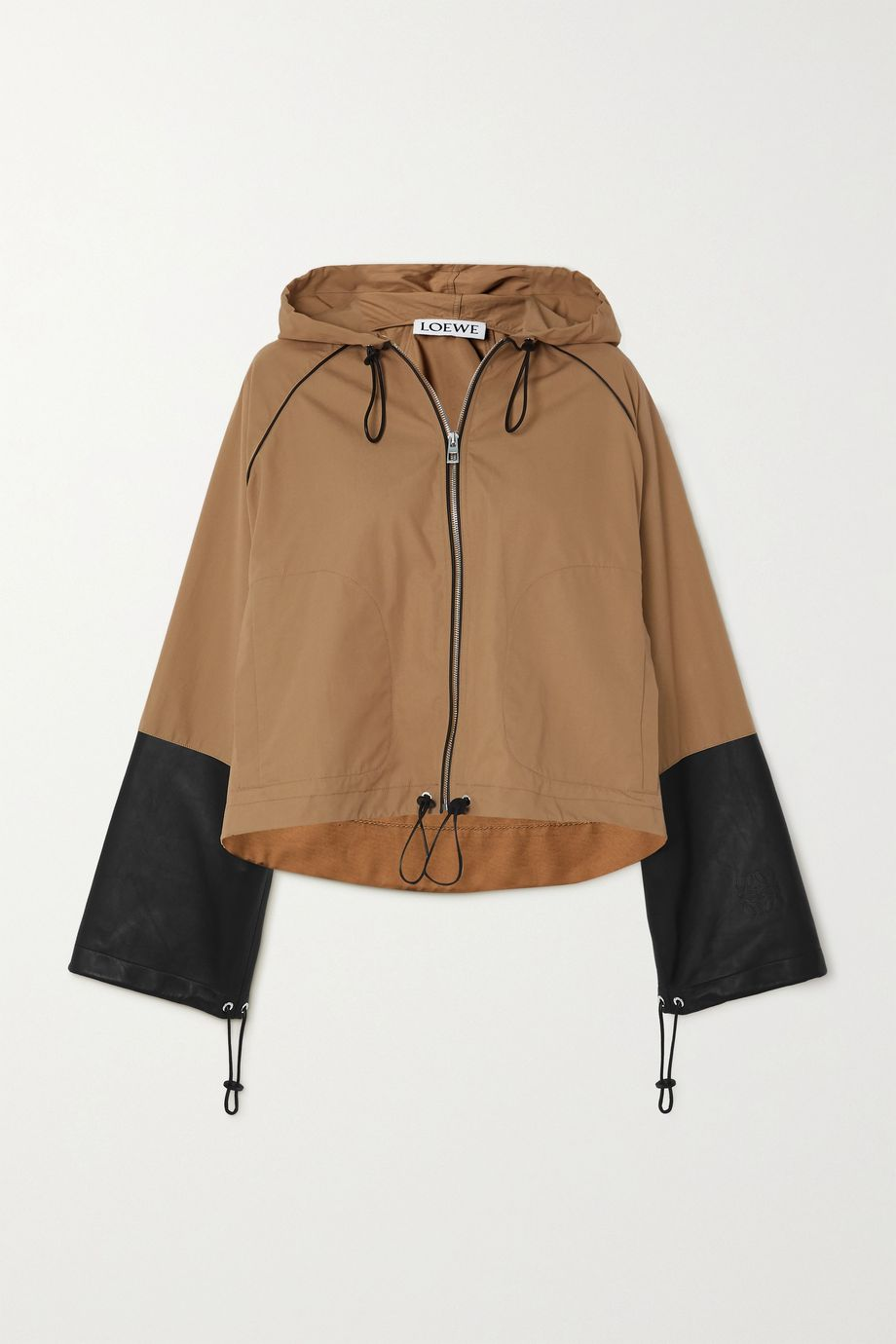 Loewe Hooded leather-paneled cotton-canvas jacket