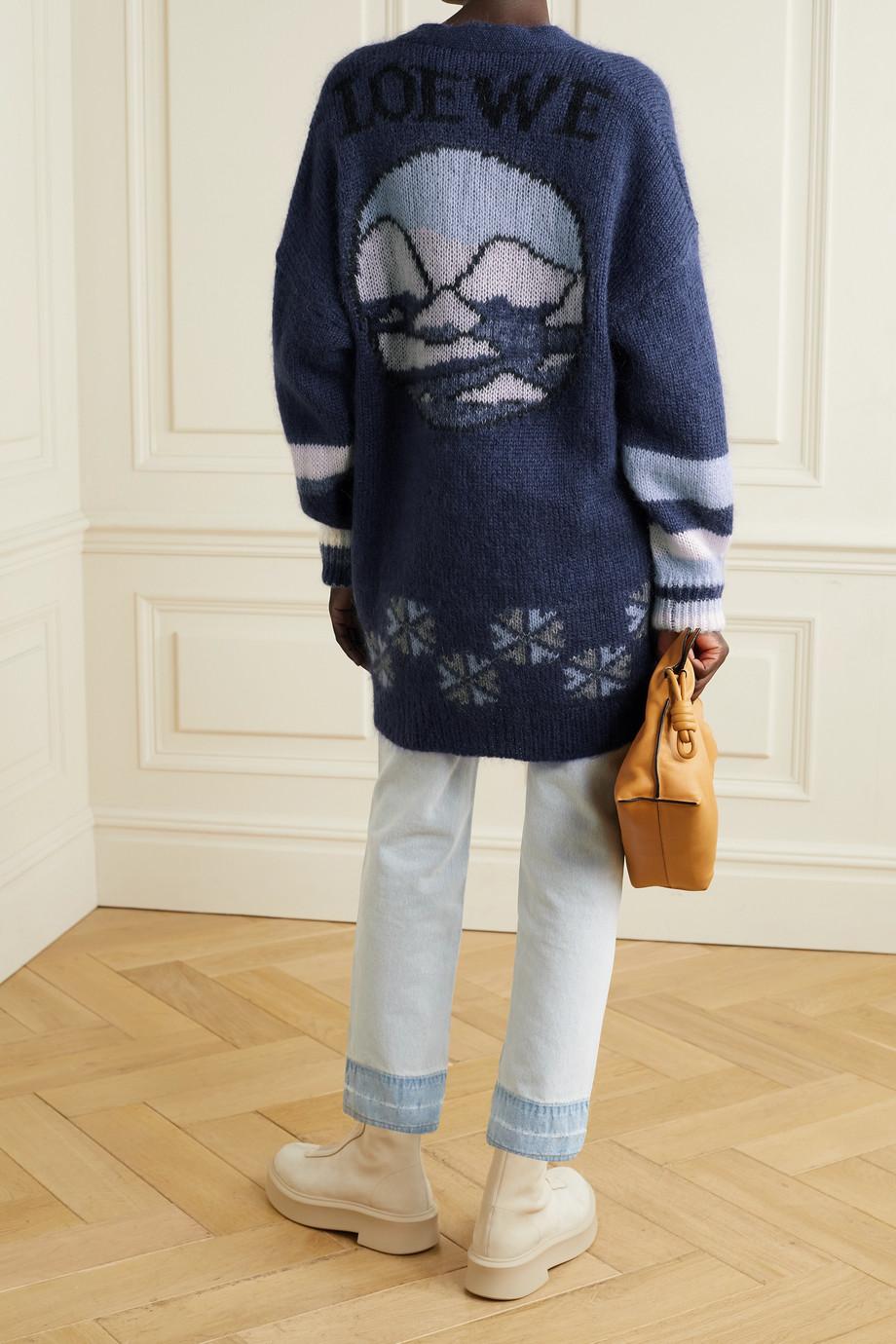 Loewe Oversized intarsia mohair-blend cardigan