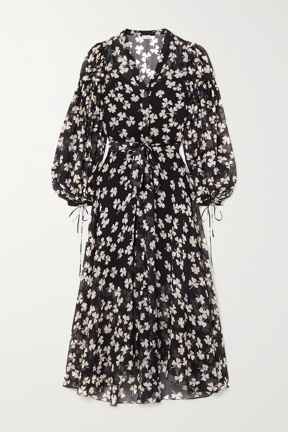 Loewe Belted printed silk-blend voile maxi dress