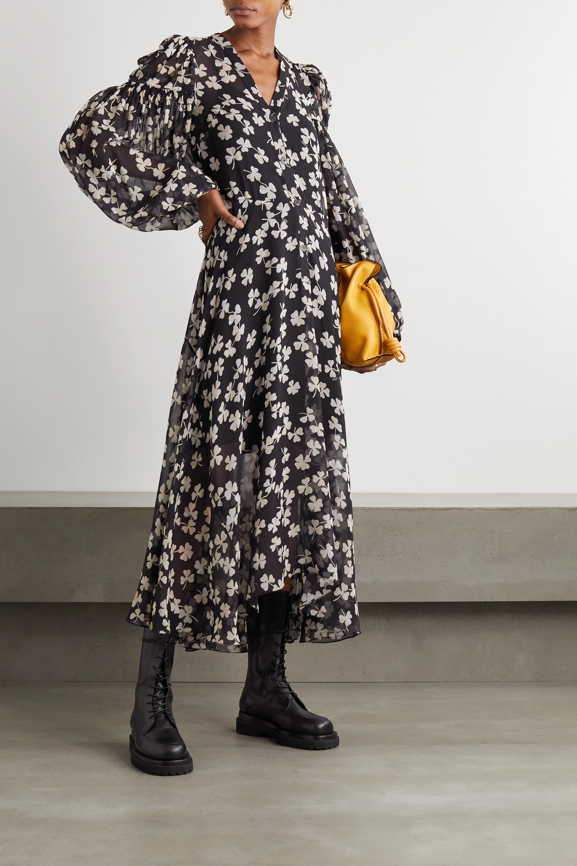 Loewe Belted printed silk-blend voile maxi dress