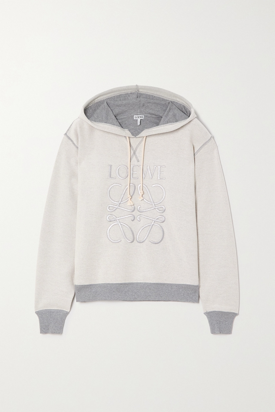 Loewe Embroidered cotton-blend jersey hoodie