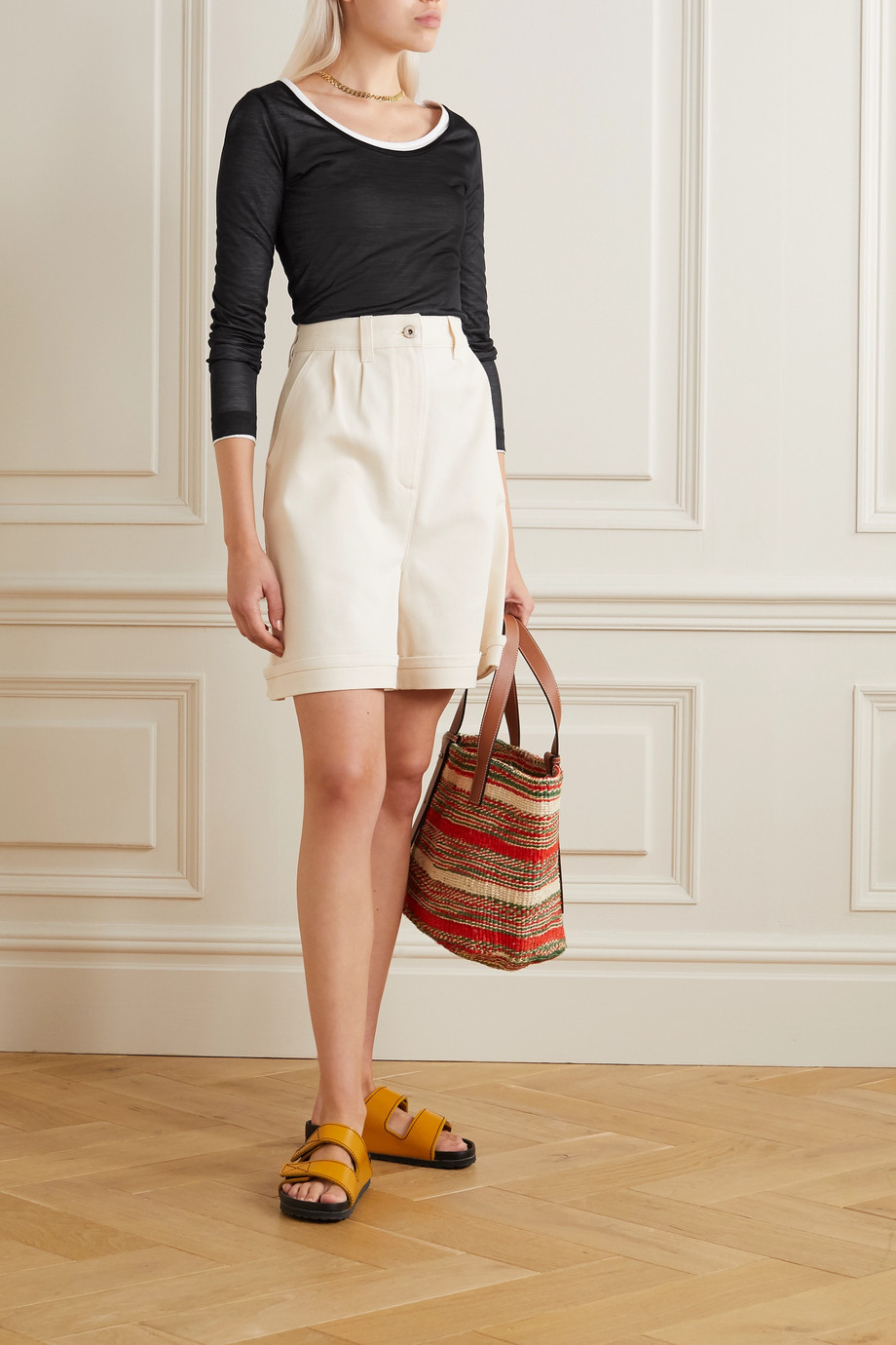 Loewe Layered silk and cotton-jersey top