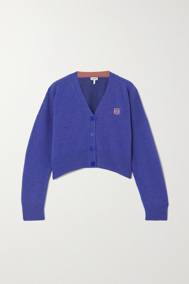 Loewe - Cropped Embroidered Wool Cardigan - Blue