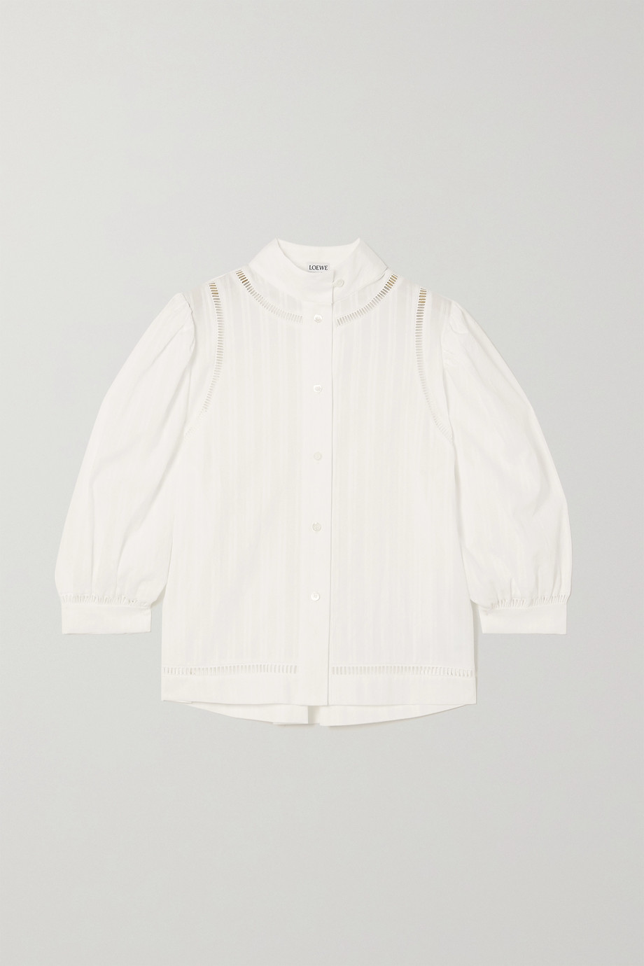 Loewe Embroidered striped cotton-voile blouse