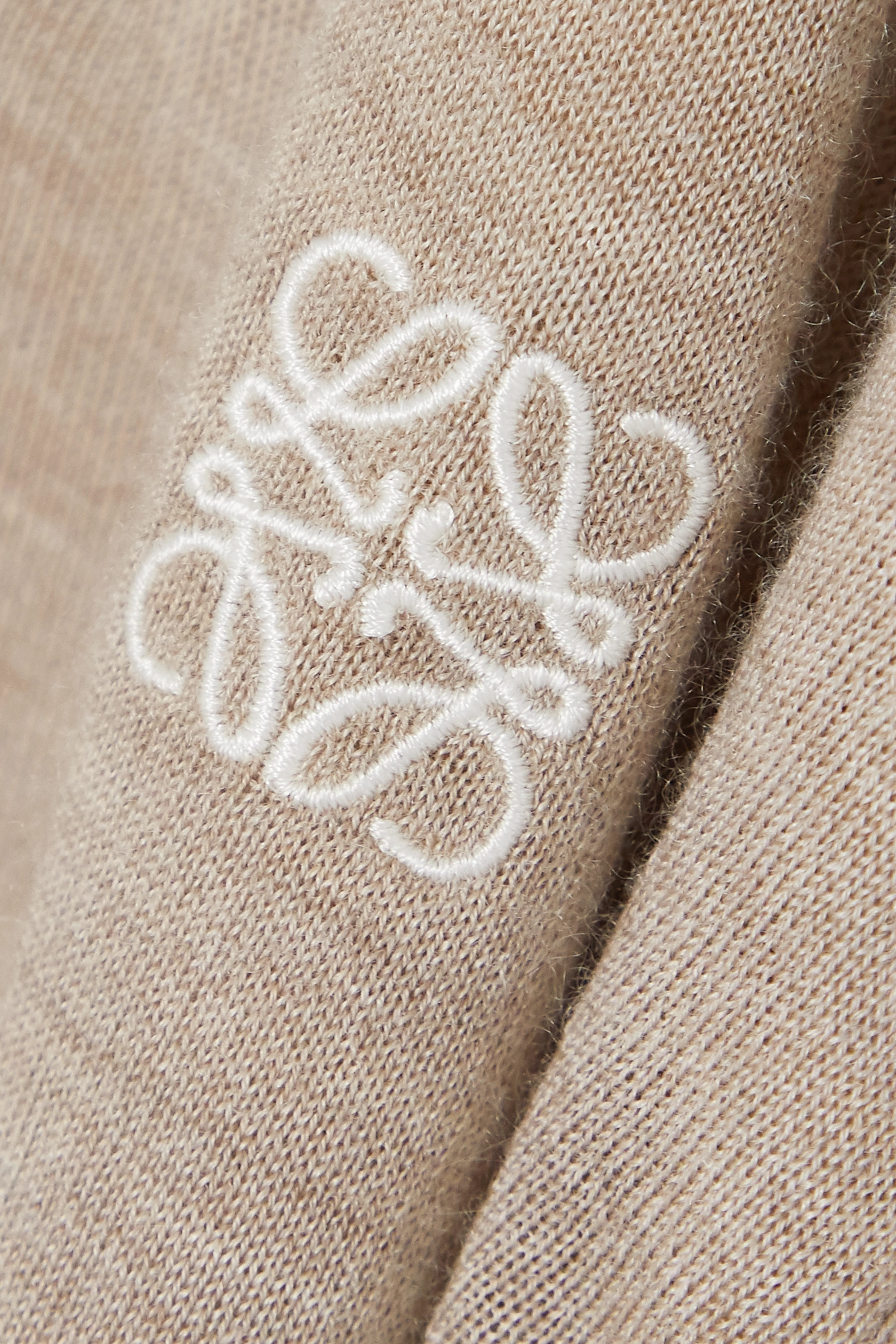 Beige Embroidered Cashmere And Cotton-blend Sweater | Loewe