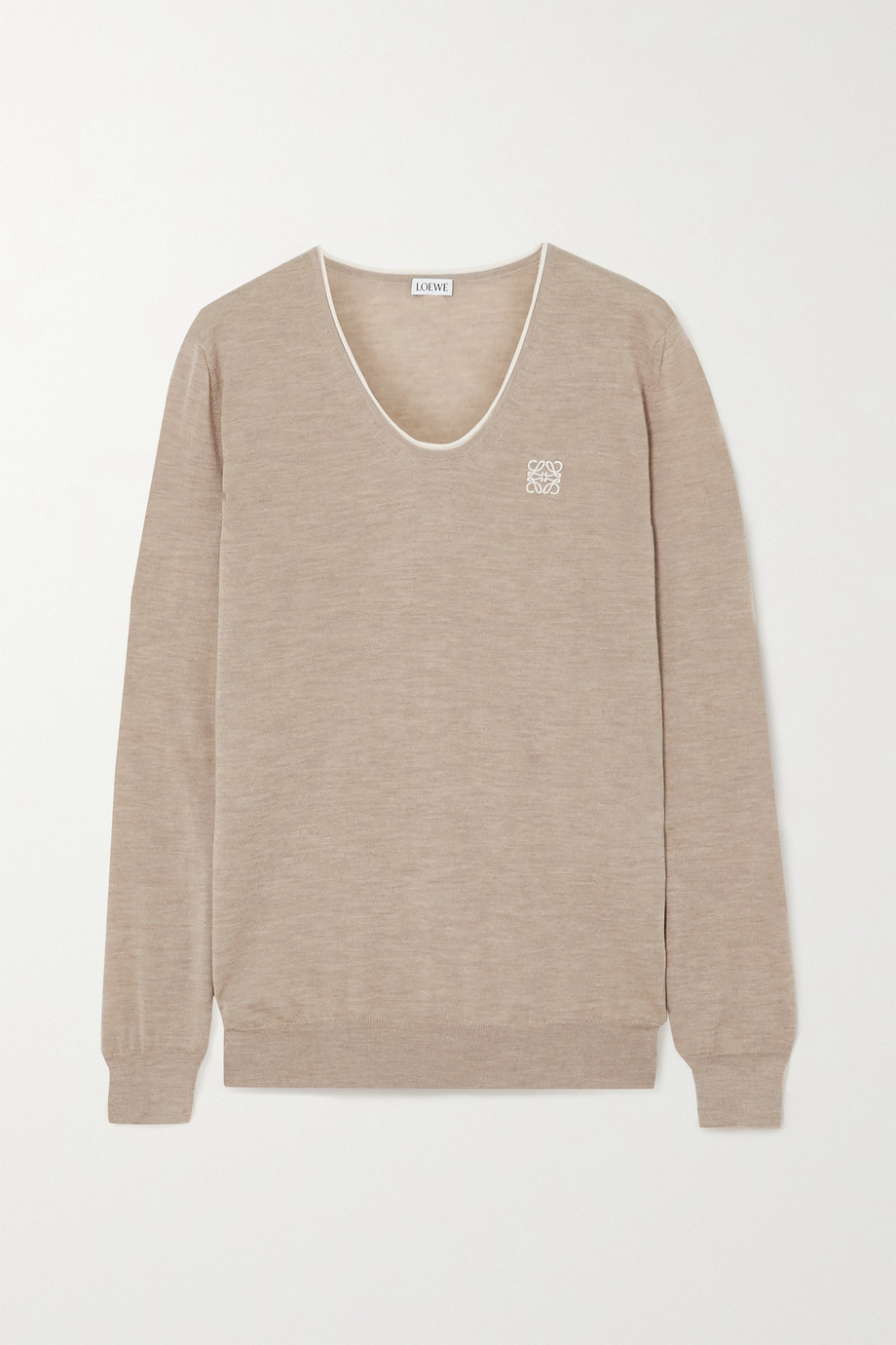 Loewe Embroidered cashmere and cotton-blend sweater
