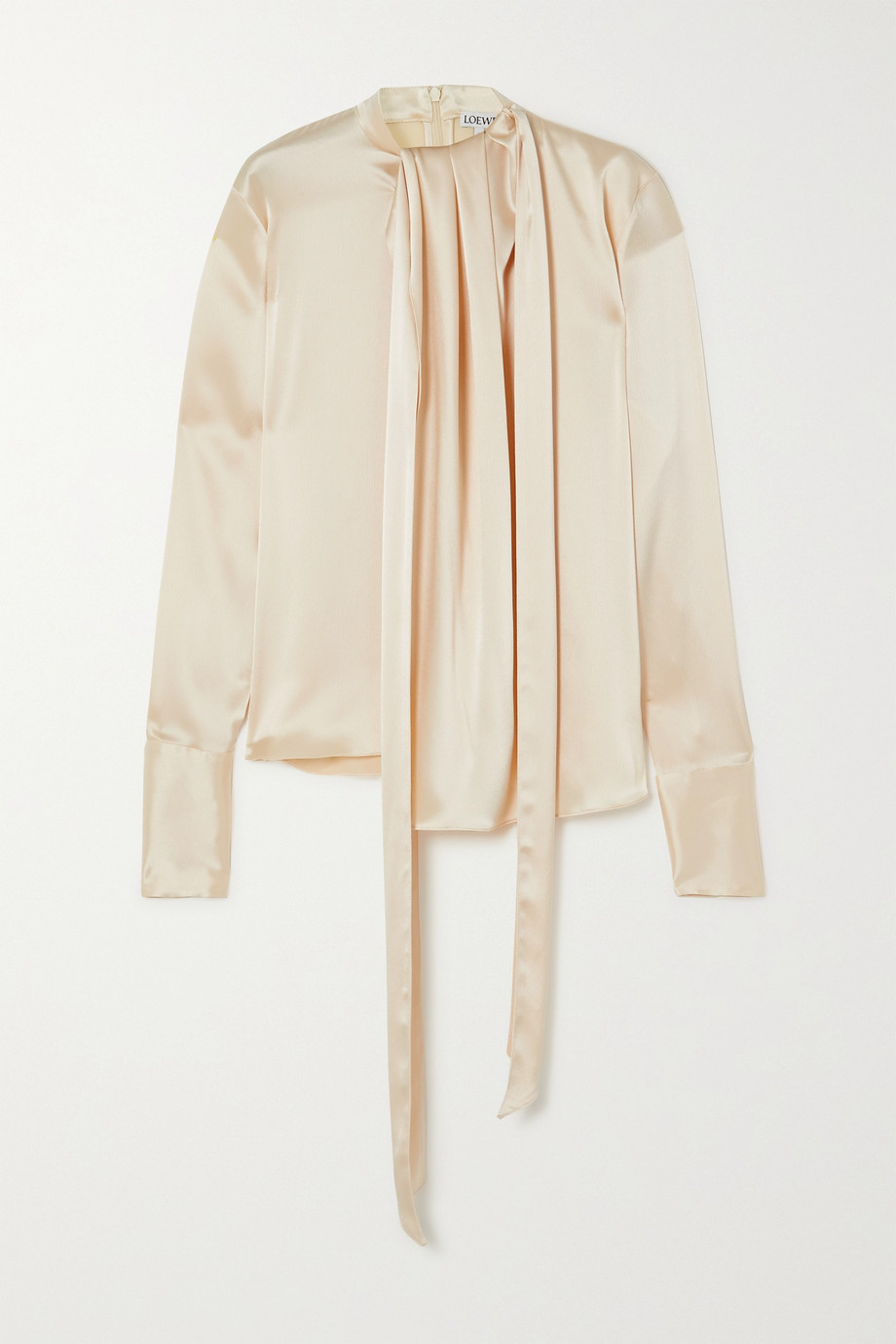 Loewe Lavalliere tie-detailed hammered-satin blouse
