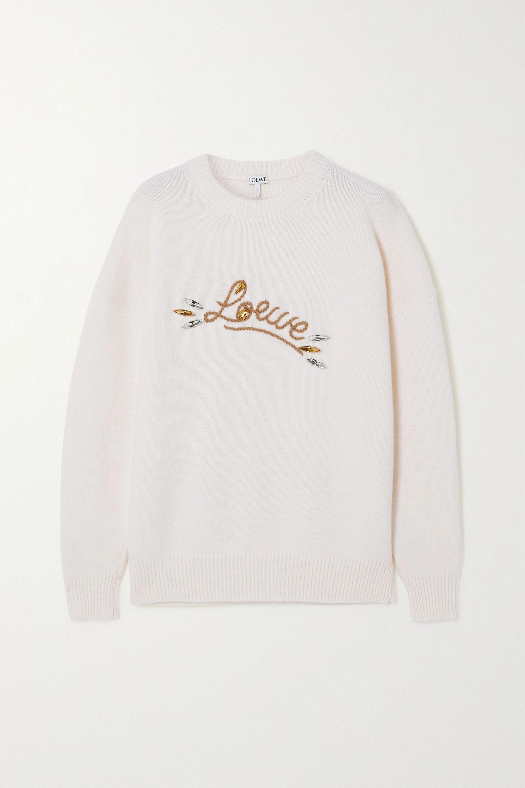 Loewe Crystal-embellished embroidered wool sweater