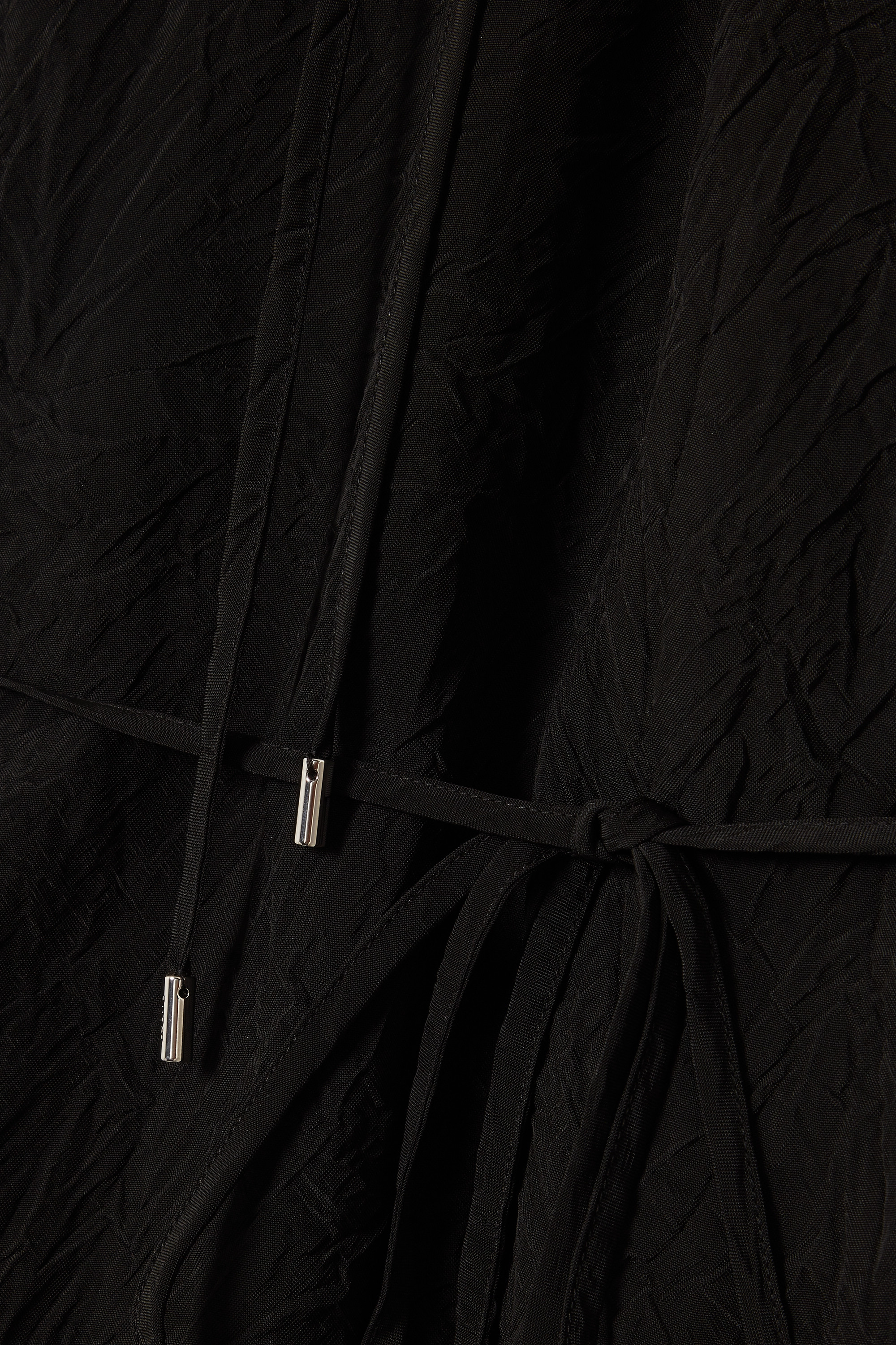 Loewe Tie-detailed crinkled-shell and cotton shirt dress