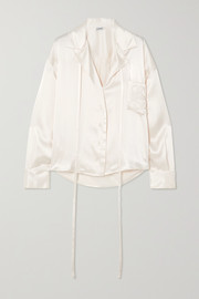 Loewe Oversized tie-detailed embroidered satin blouse