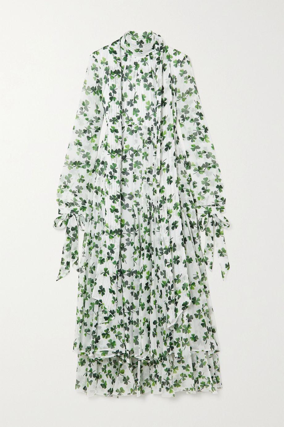 Loewe Robe midi en mousseline de soie imprimée à col noué