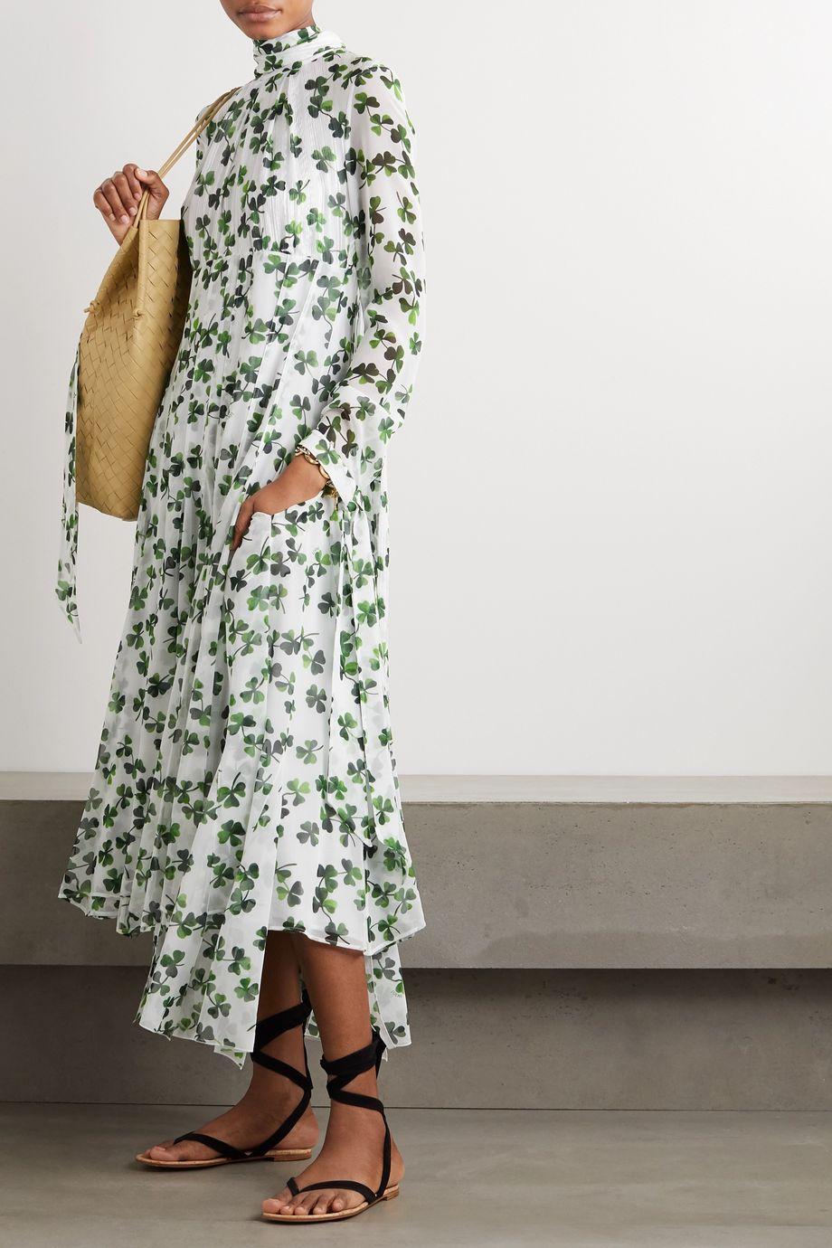 Loewe Pussy-bow printed silk-chiffon midi dress