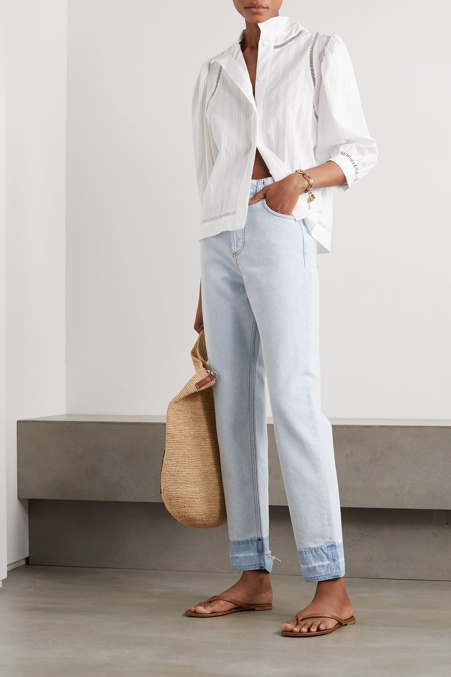 Loewe Frayed high-rise straight-leg jeans
