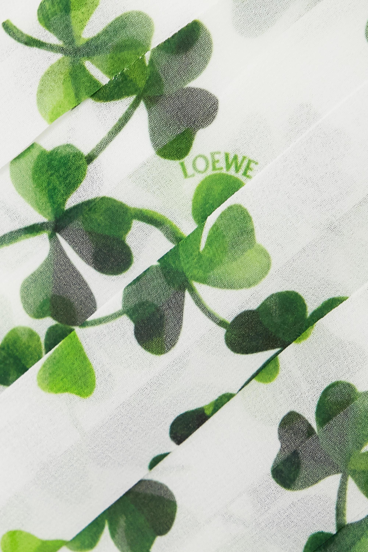 White Asymmetric Pleated Printed Chiffon Midi Skirt | Loewe
