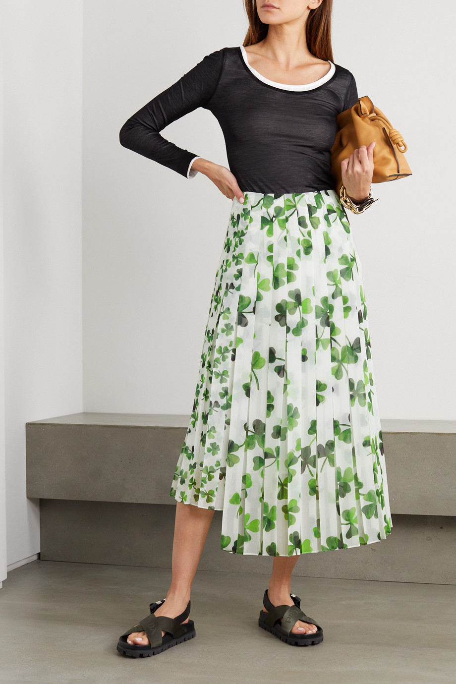 Loewe Asymmetric pleated printed chiffon midi skirt