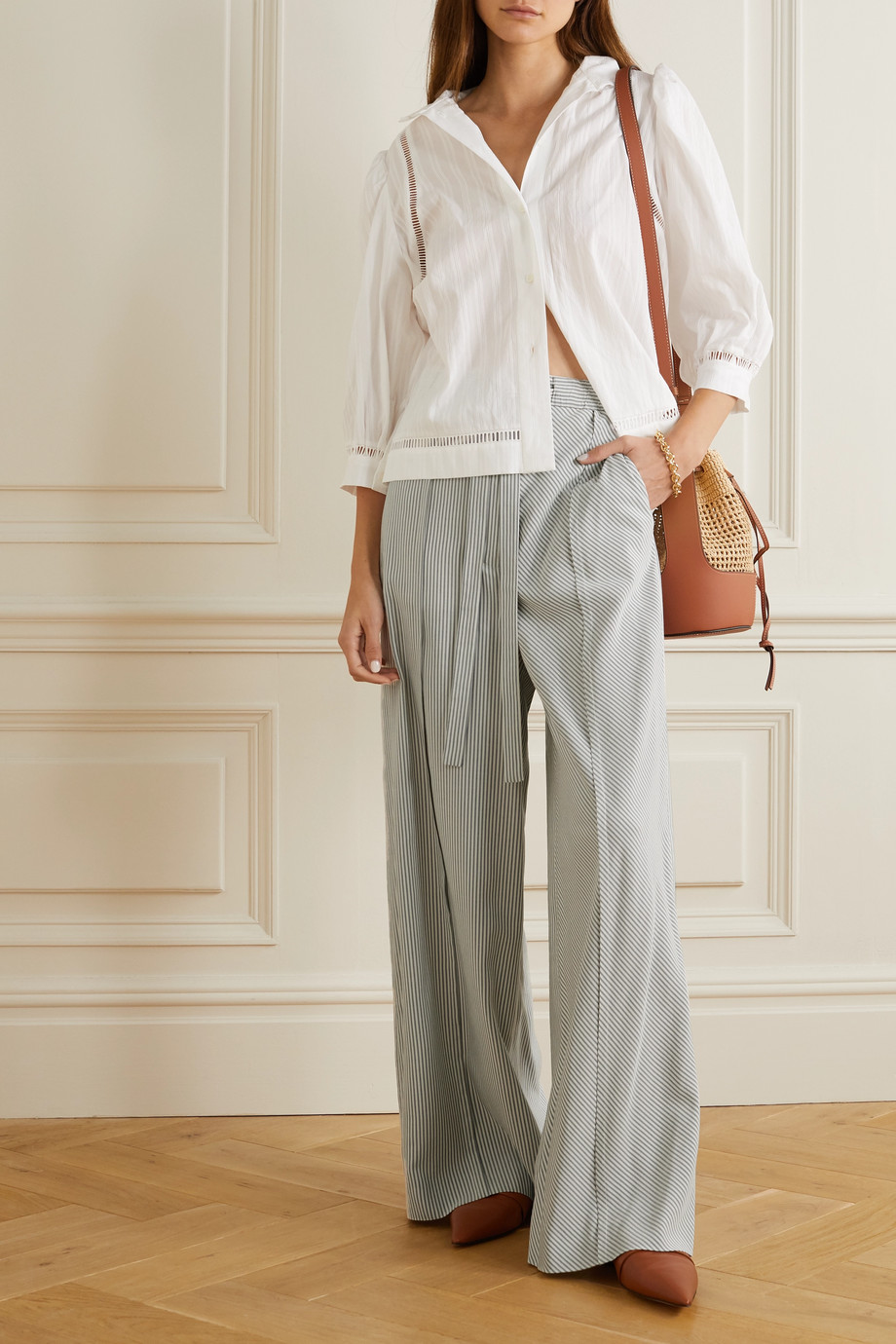 Loewe Striped silk wide-leg pants